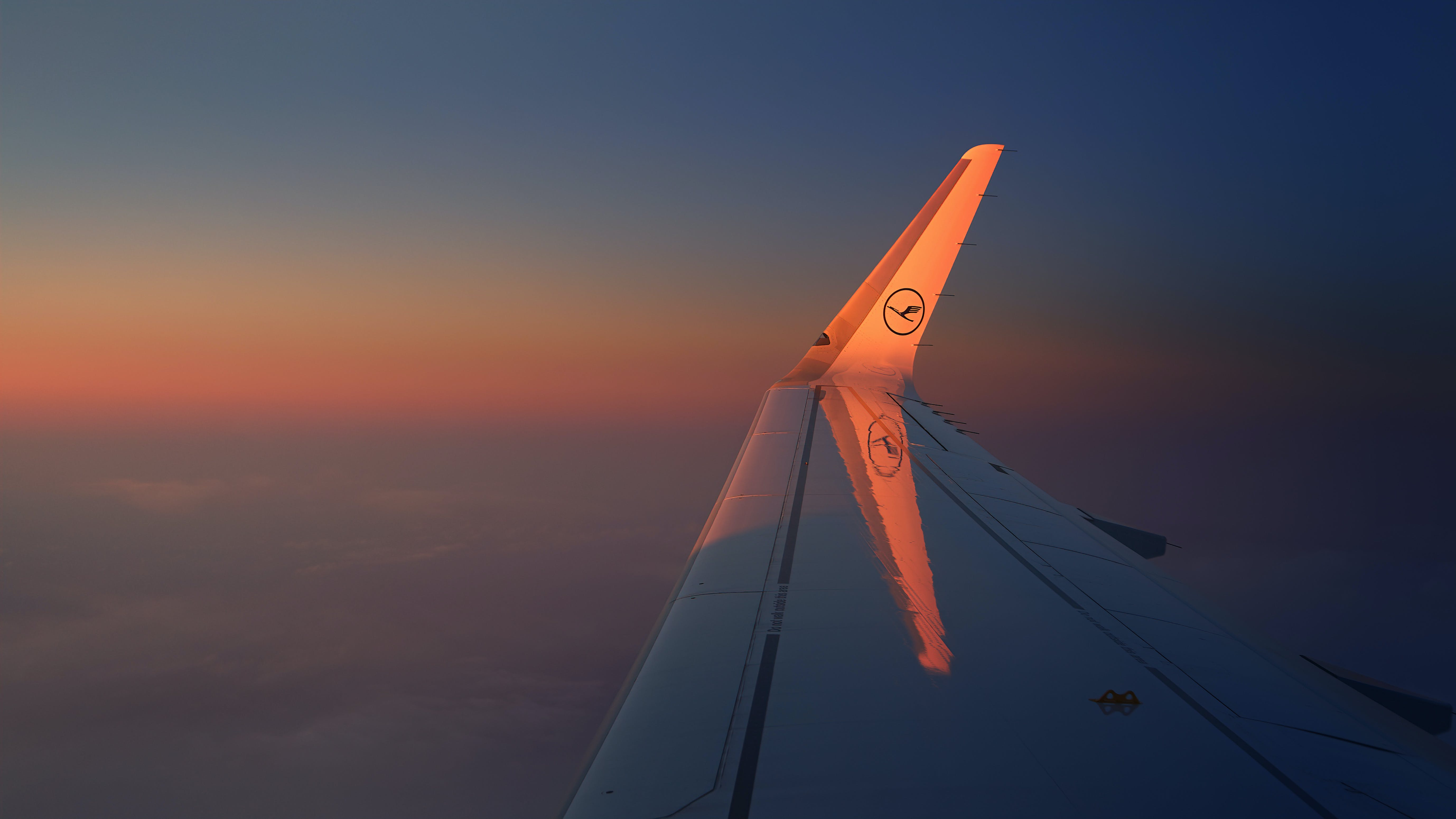 Photo of Aircraft Wing During Dawn