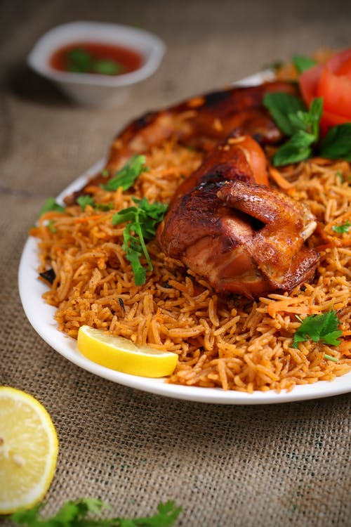 Free stock photo of biriyani, chicken, lemon