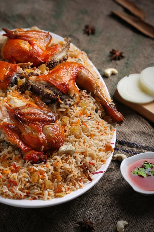 Free stock photo of biriyani, chicken, majboos, onion
