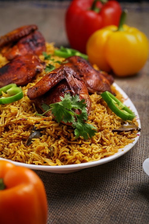 Free stock photo of biriyani, capsicum, chicken