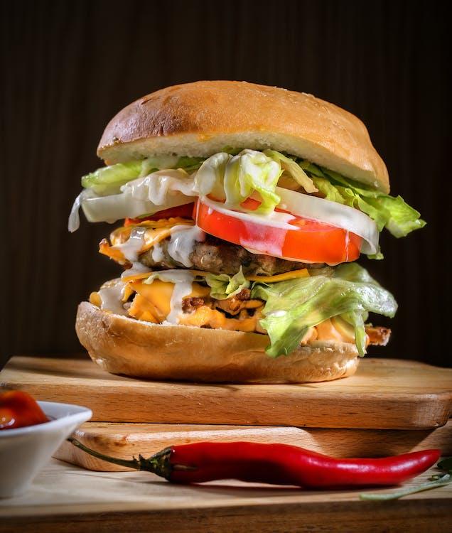 burger, cheeseburger, chleba