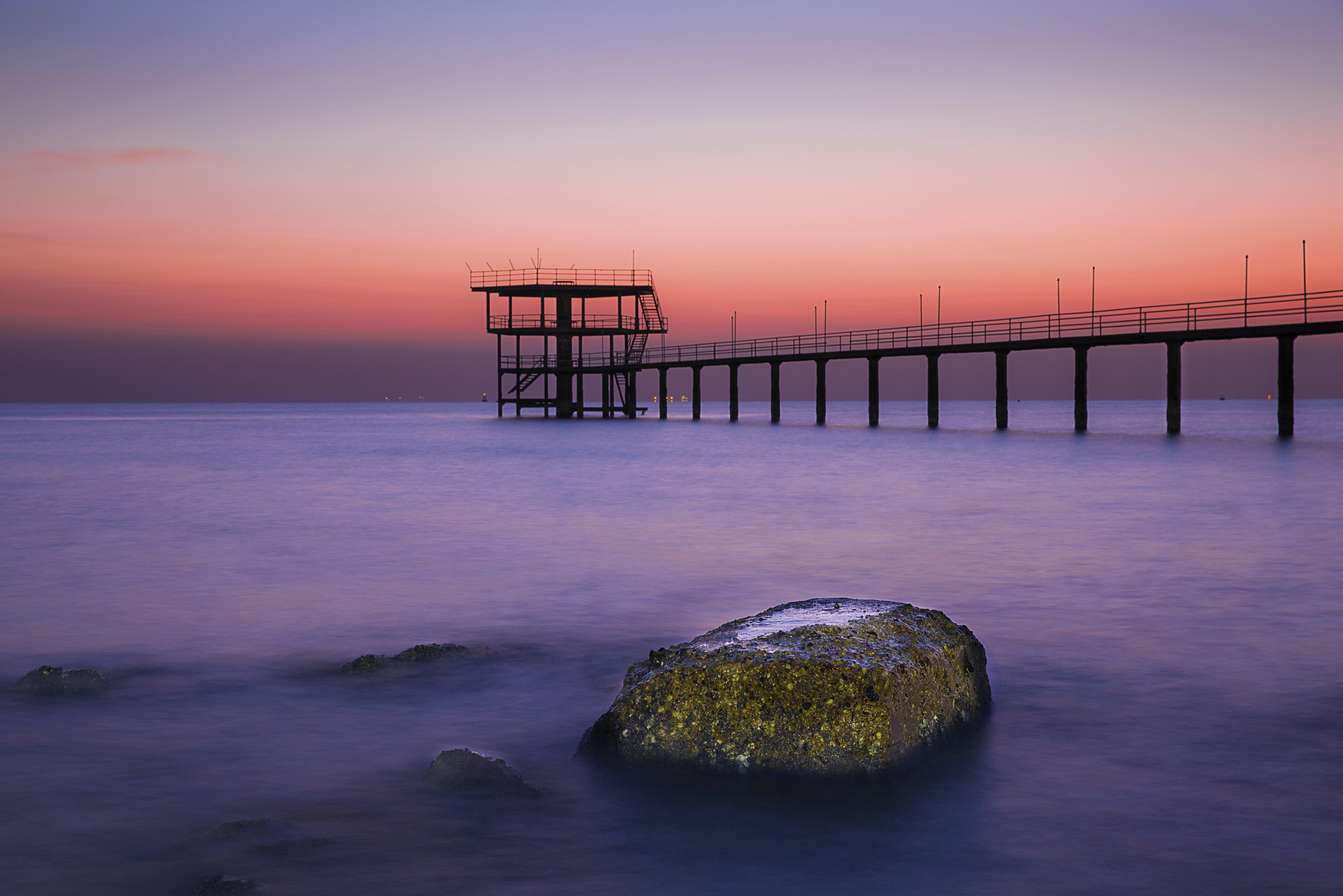 Darmowe zdjęcie z galerii z dok, długa ekspozycja, głaz, horyzont