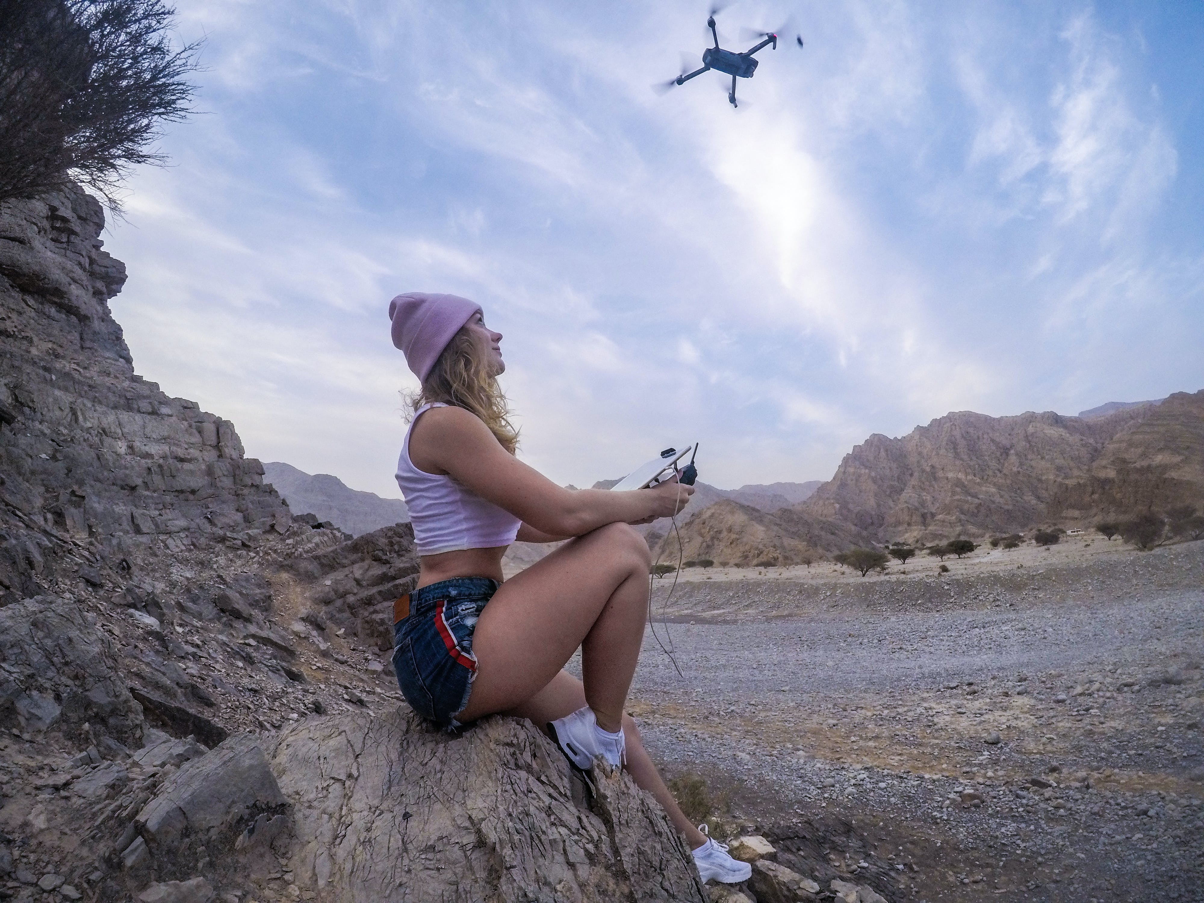 Free stock photo of athletic girl, blue sky, cute girl, drone