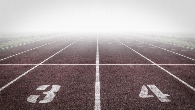 Brown and White Track Field