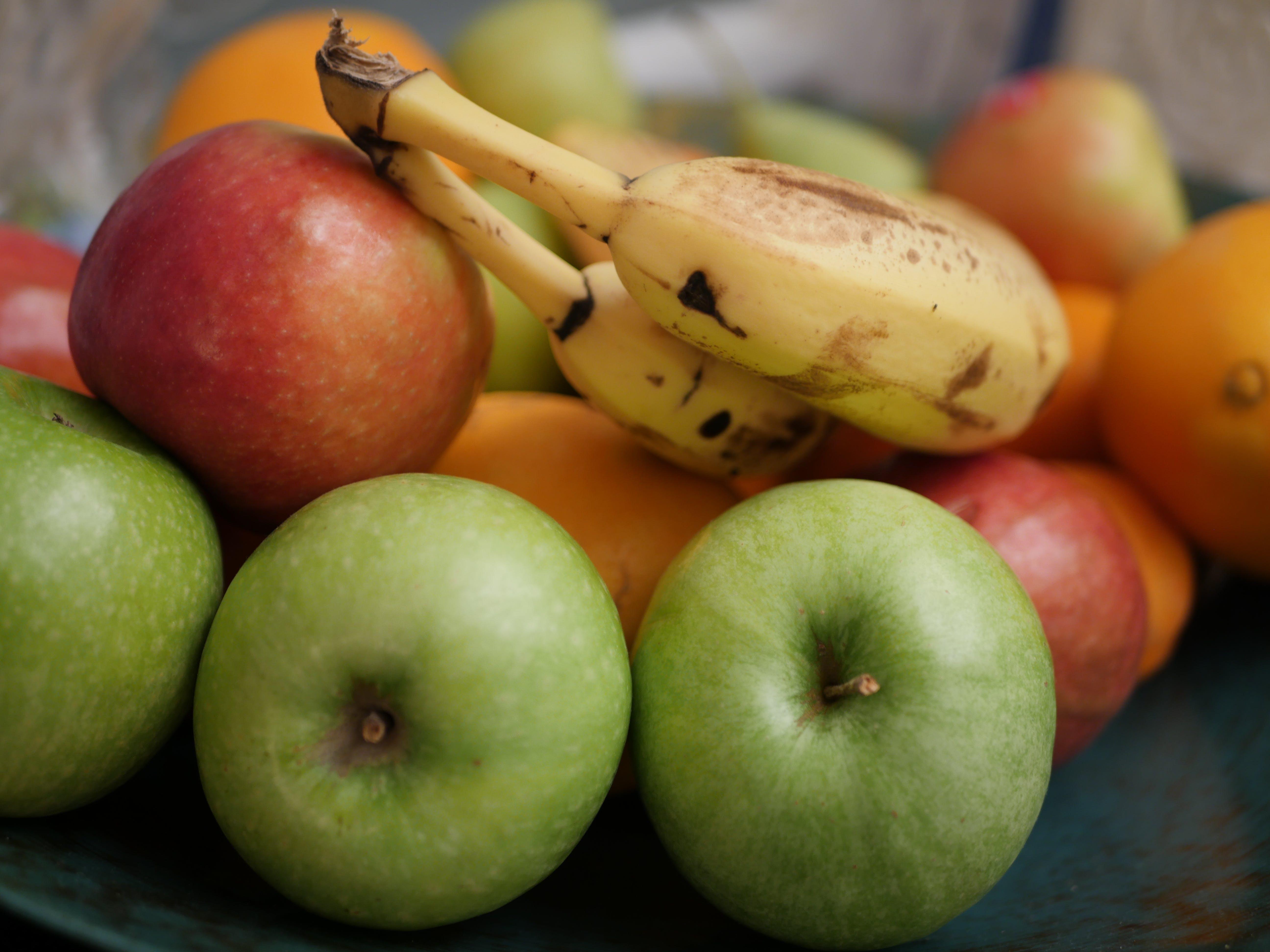 Free stock photo of apples, banana, bowl of fruit