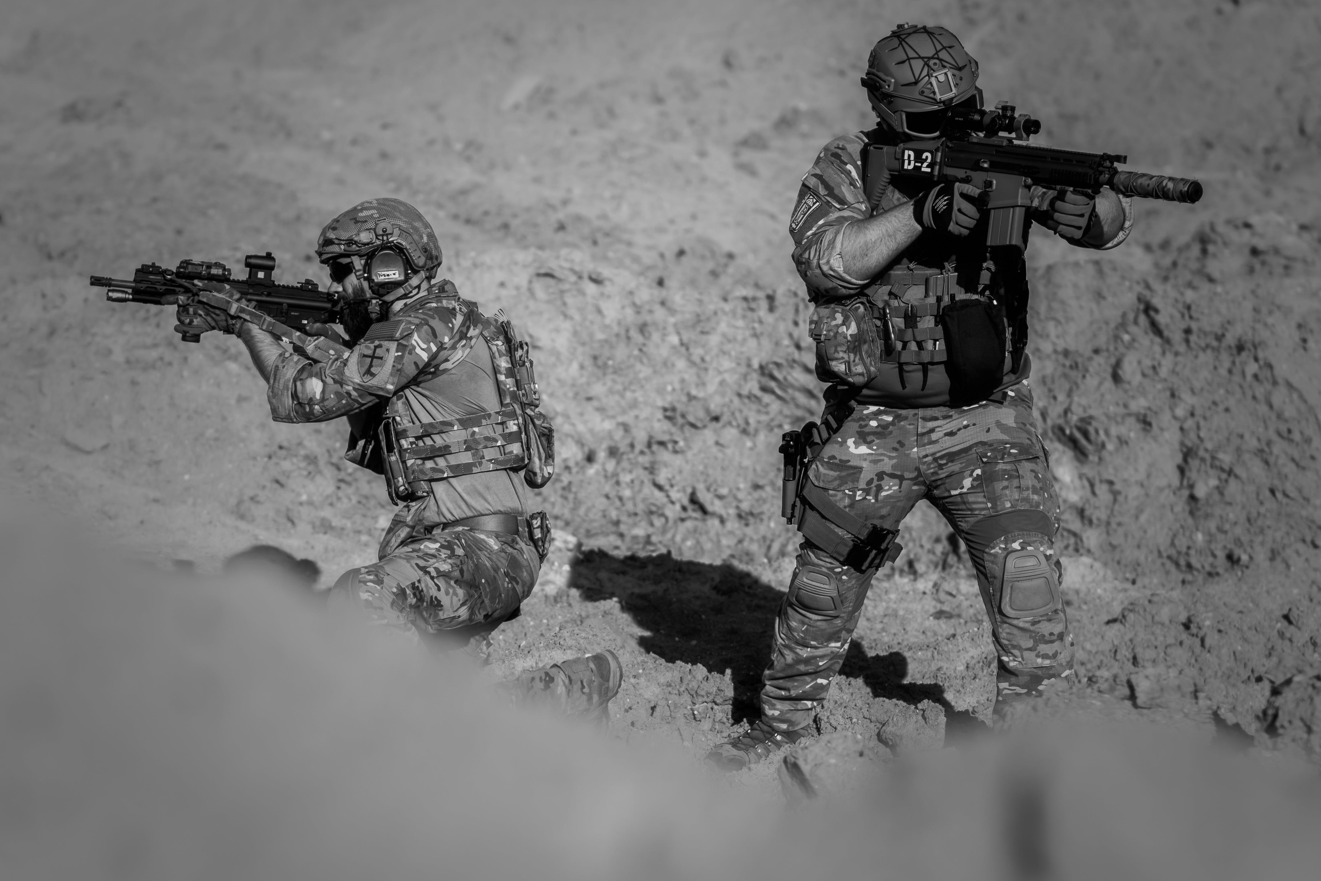 2 Person in Army Suit Grayscale Photography