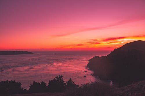 Photos gratuites de coucher de soleil, longue exposition, océan, pont