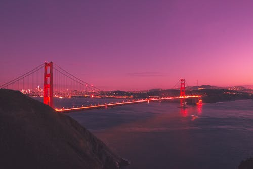 Ilmainen kuvapankkikuva tunnisteilla arkkitehtuuri, auringonlasku, golden gate, ilta