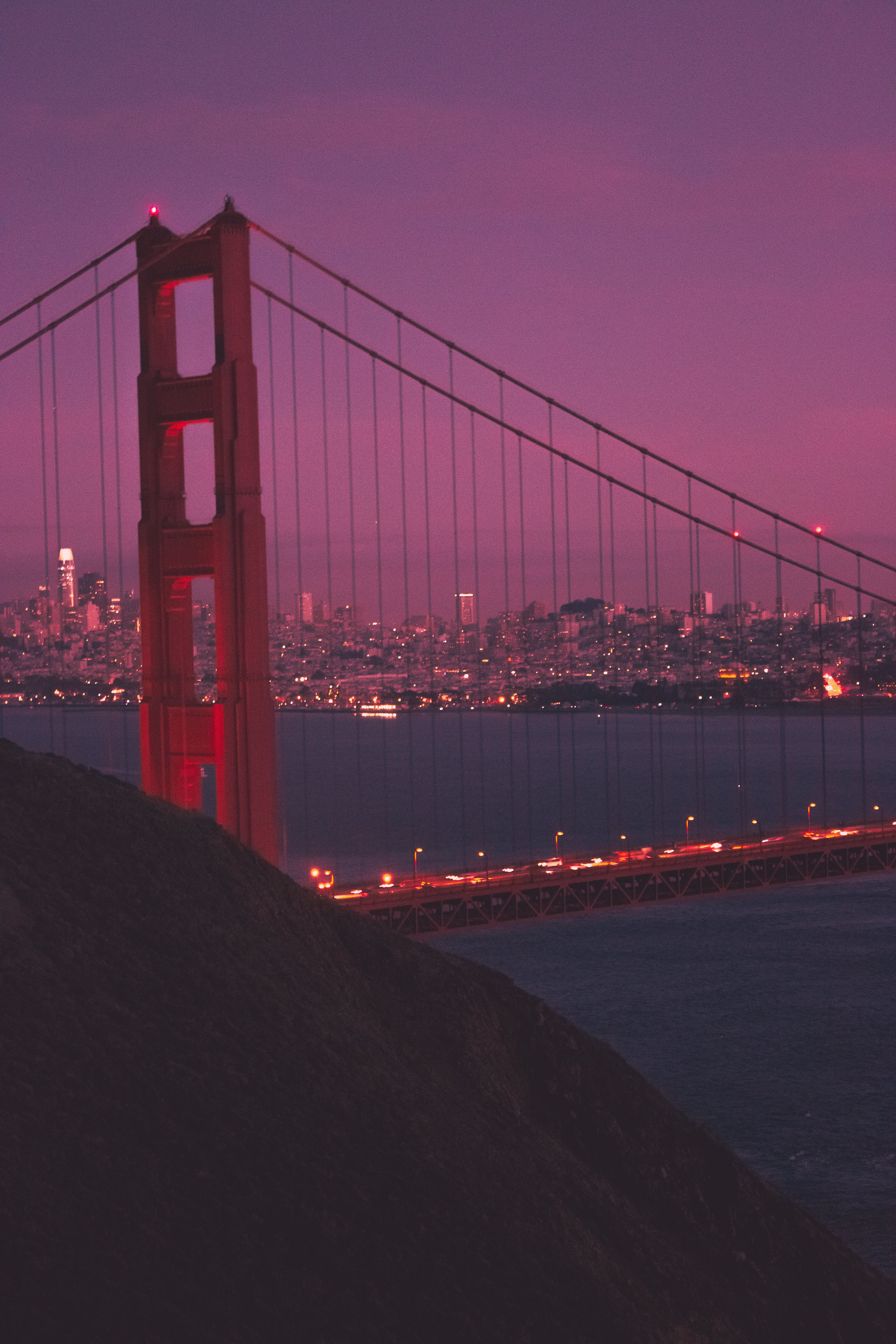 Ilmainen kuvapankkikuva tunnisteilla auringonlasku, autot, golden gate, kaupunki