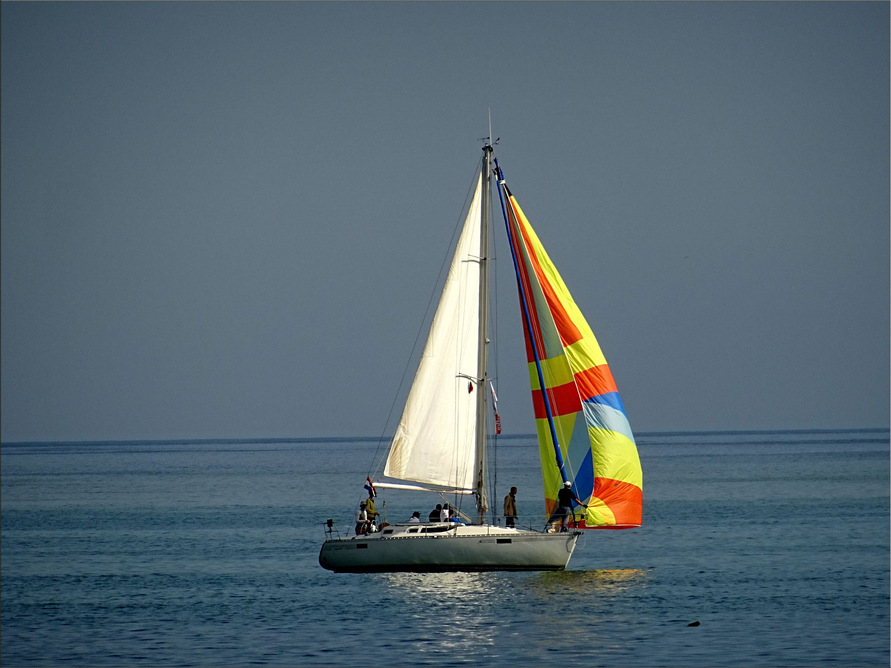 Gray and White Sail Boat With 5 Person Riding on the Middle of the Body of Water