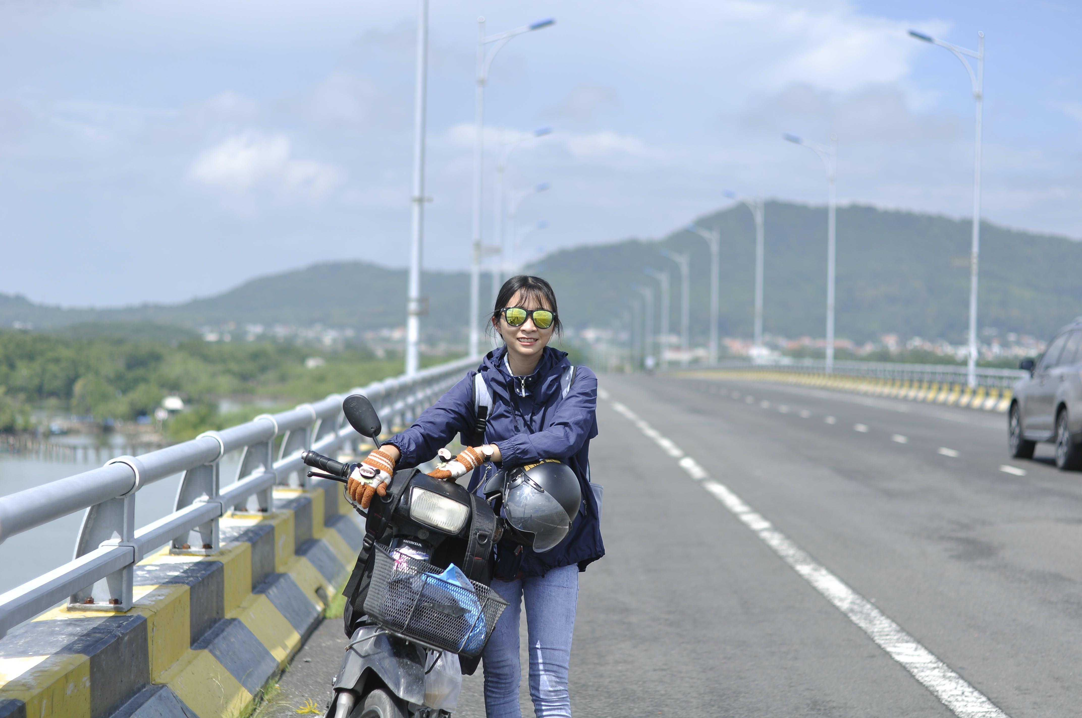 Free stock photo of asian girl, bdrige, motor bike, path