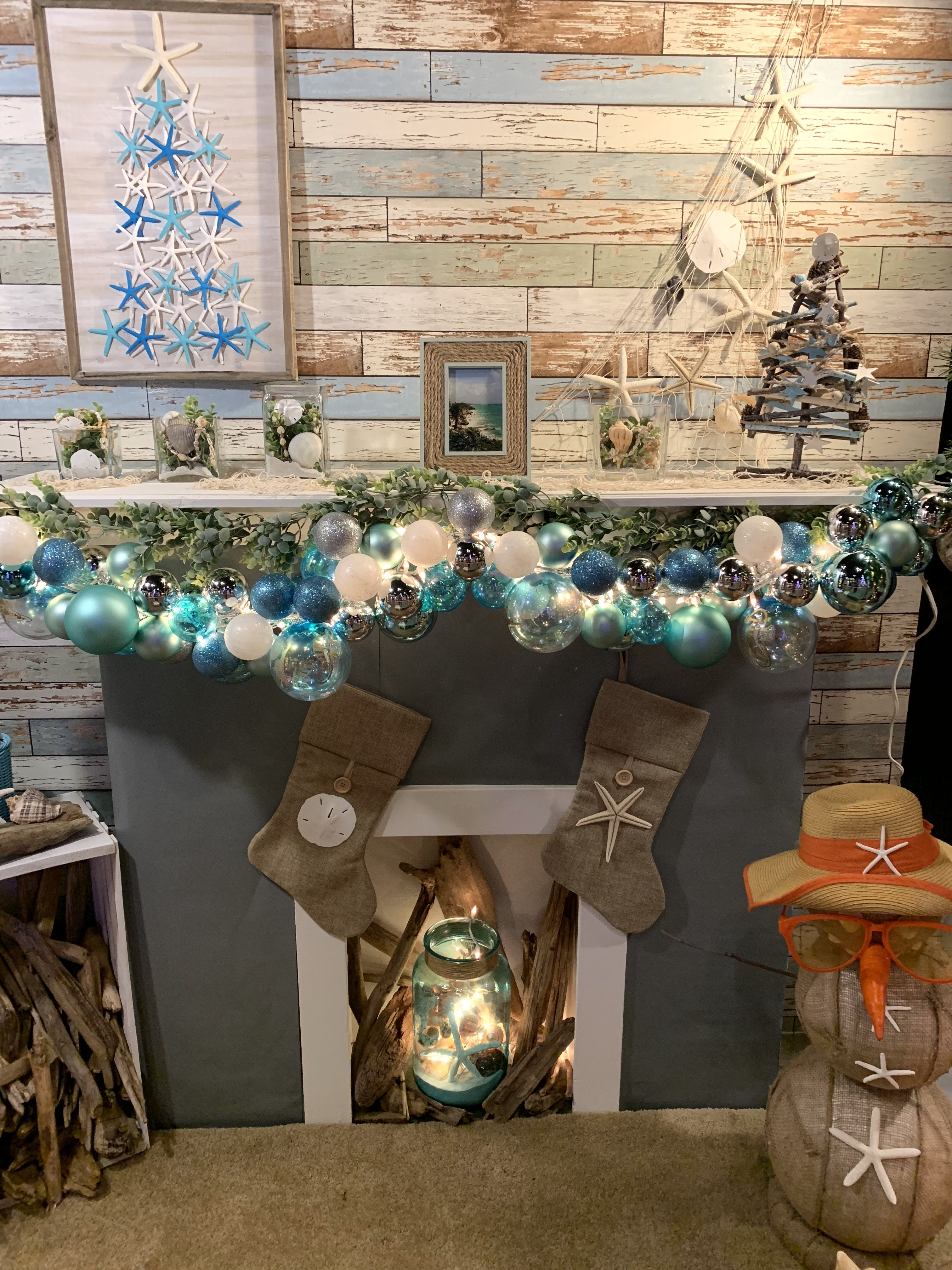 Christmas Decors in Gray Wooden Fireplace Mantel