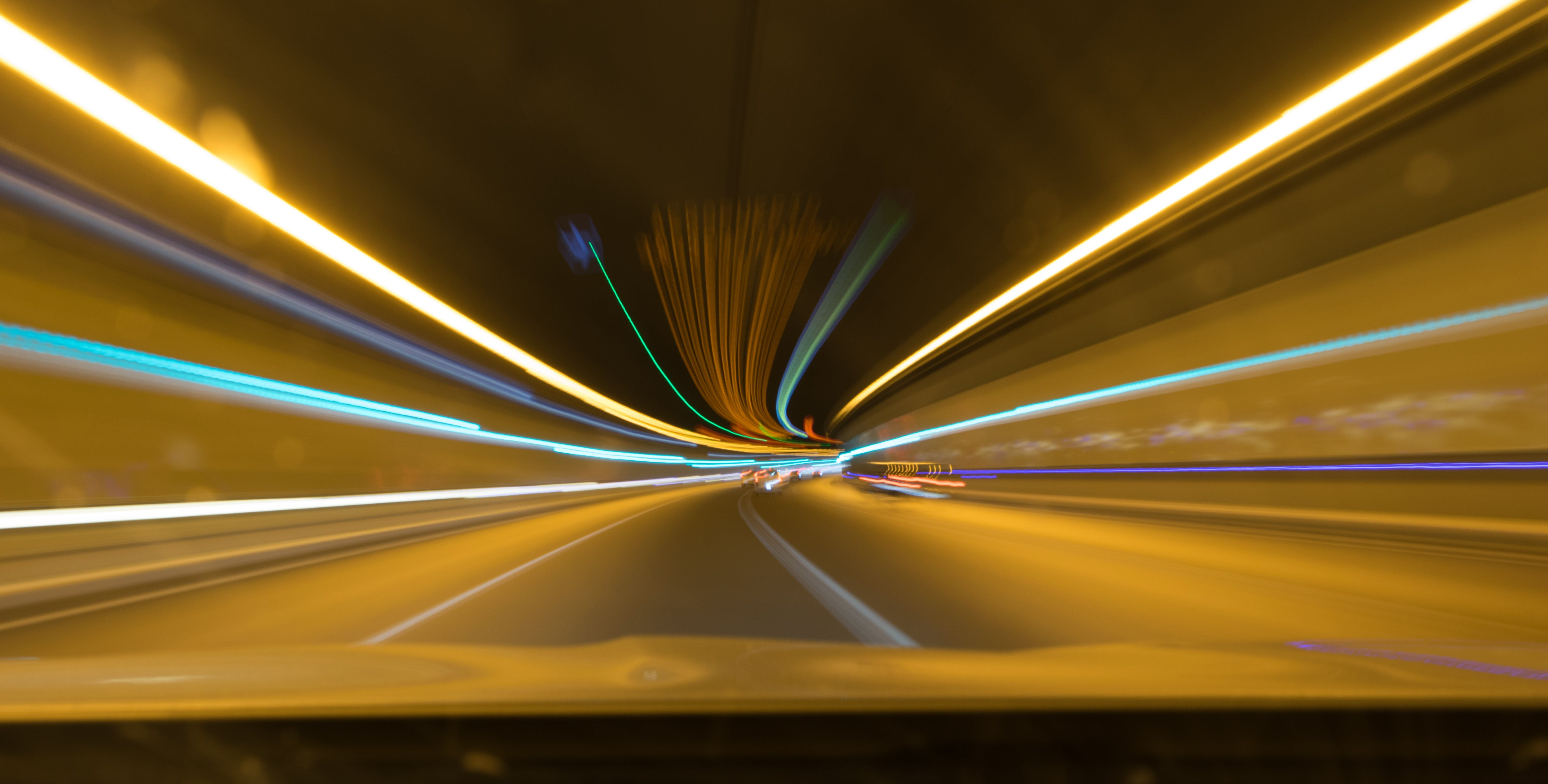 Free stock photo of cars, road, lights, tunnel