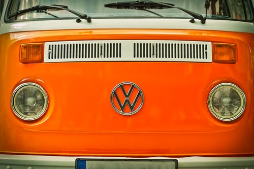 Orange Volkswagen Beatle Van