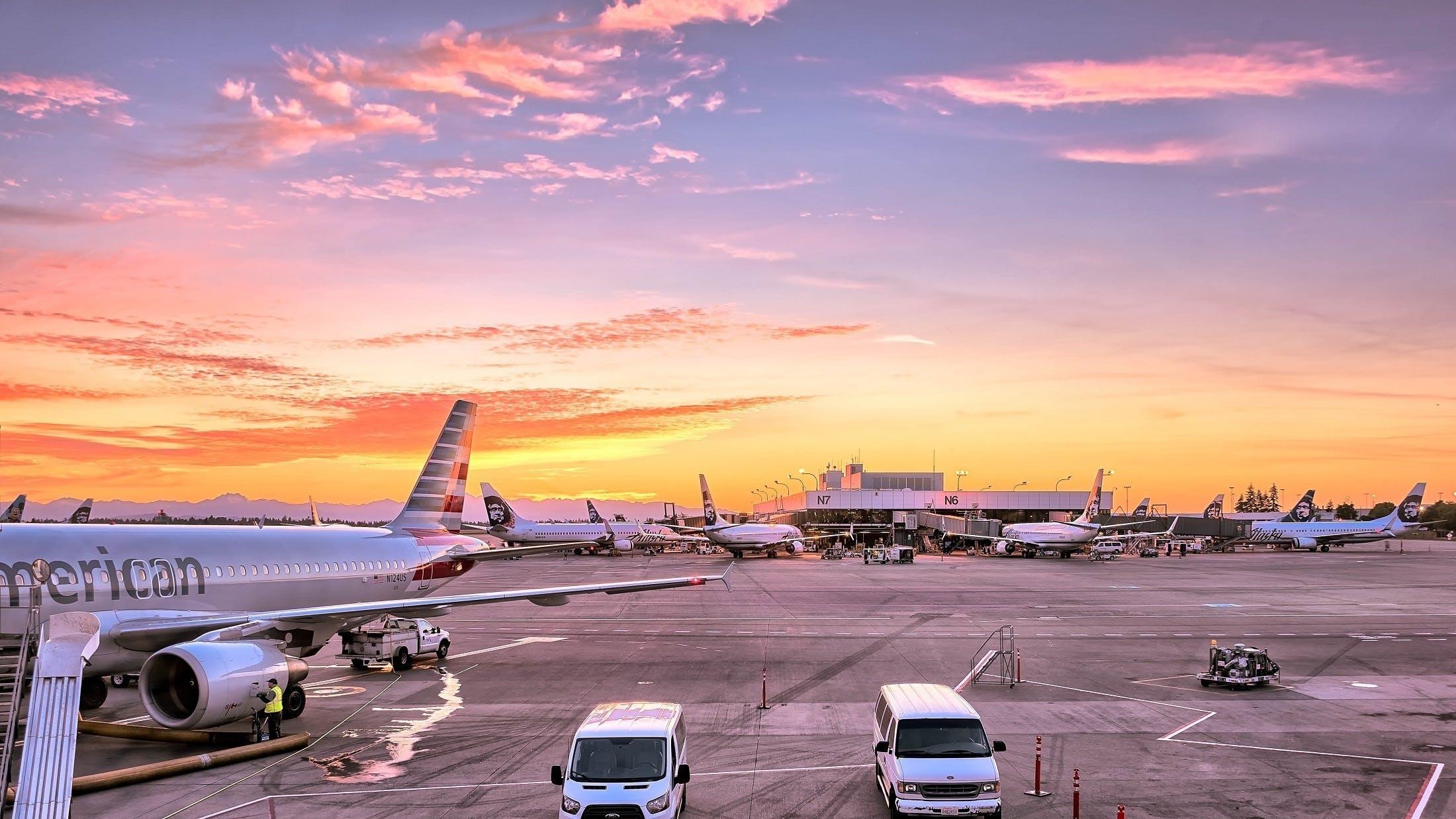 aéroport, aube, aviation