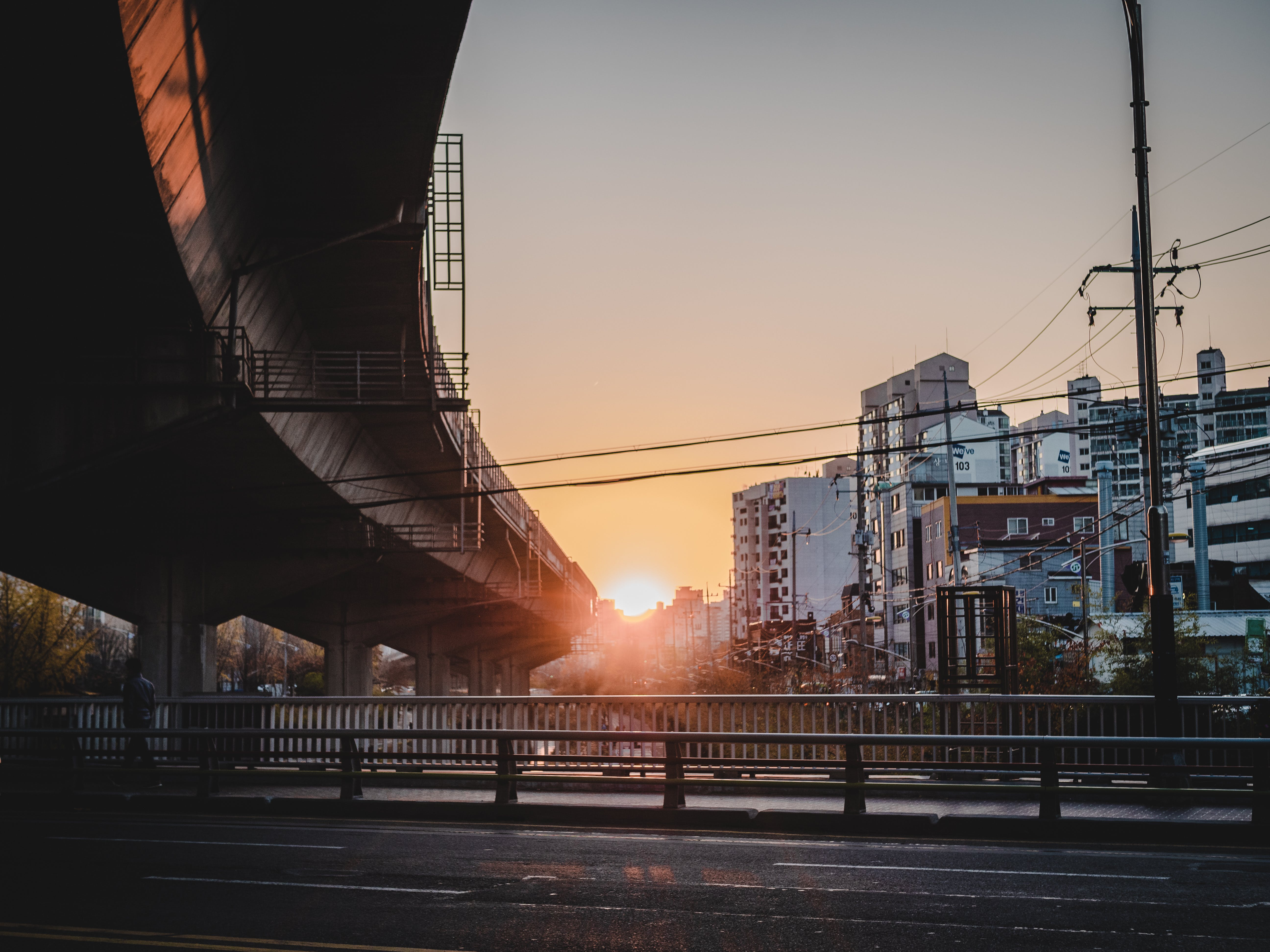 Road and Flyover during Golden Hour