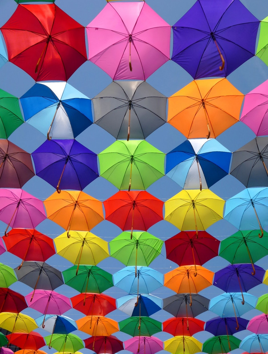 Pink Grey and Green Folding Umbrella Painting