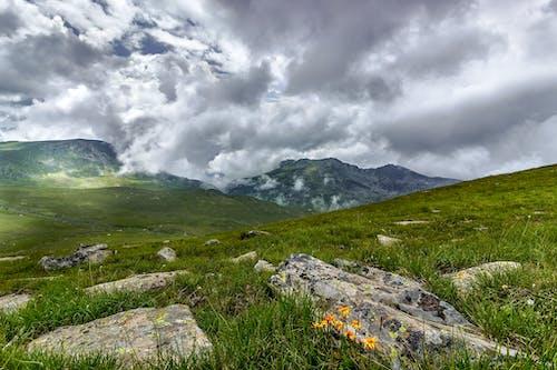 bulutlar, çim, çimen, dağ içeren Ücretsiz stok fotoğraf