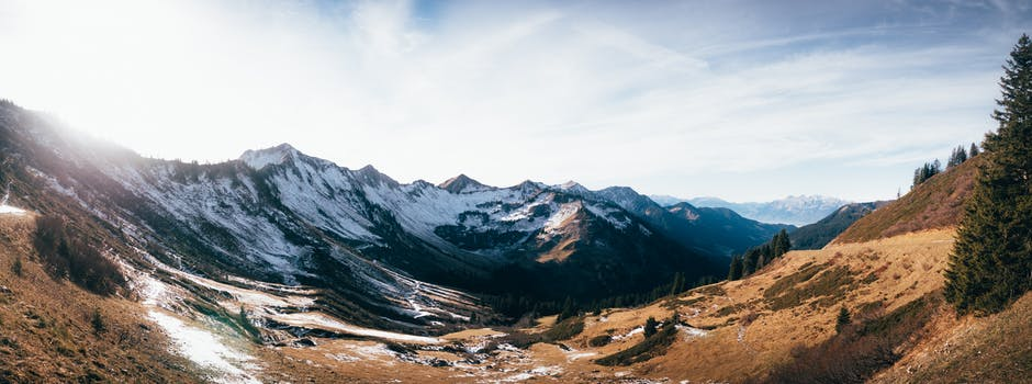Mountain filled with snow photo