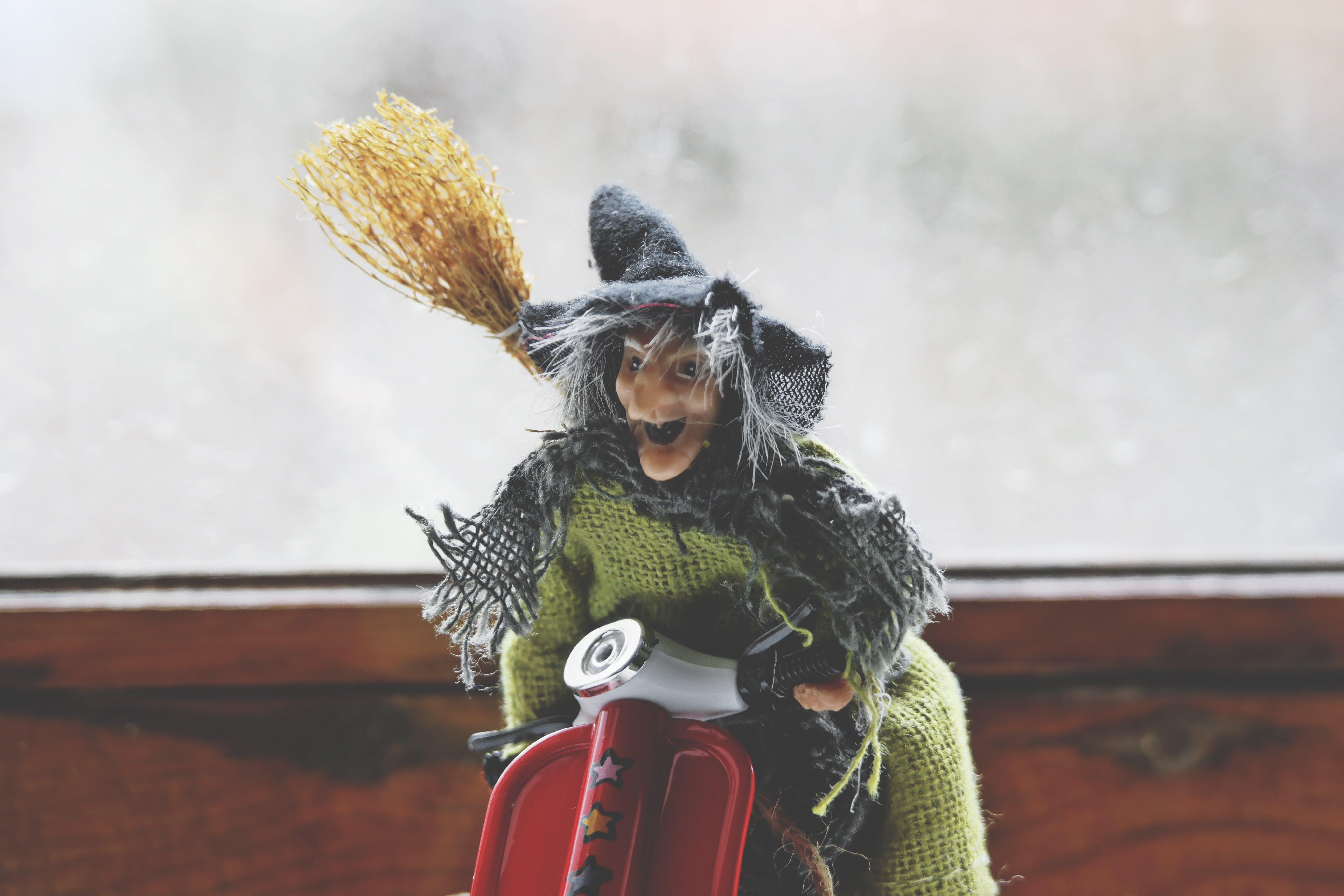 Witch Riding Motorcycle Toy