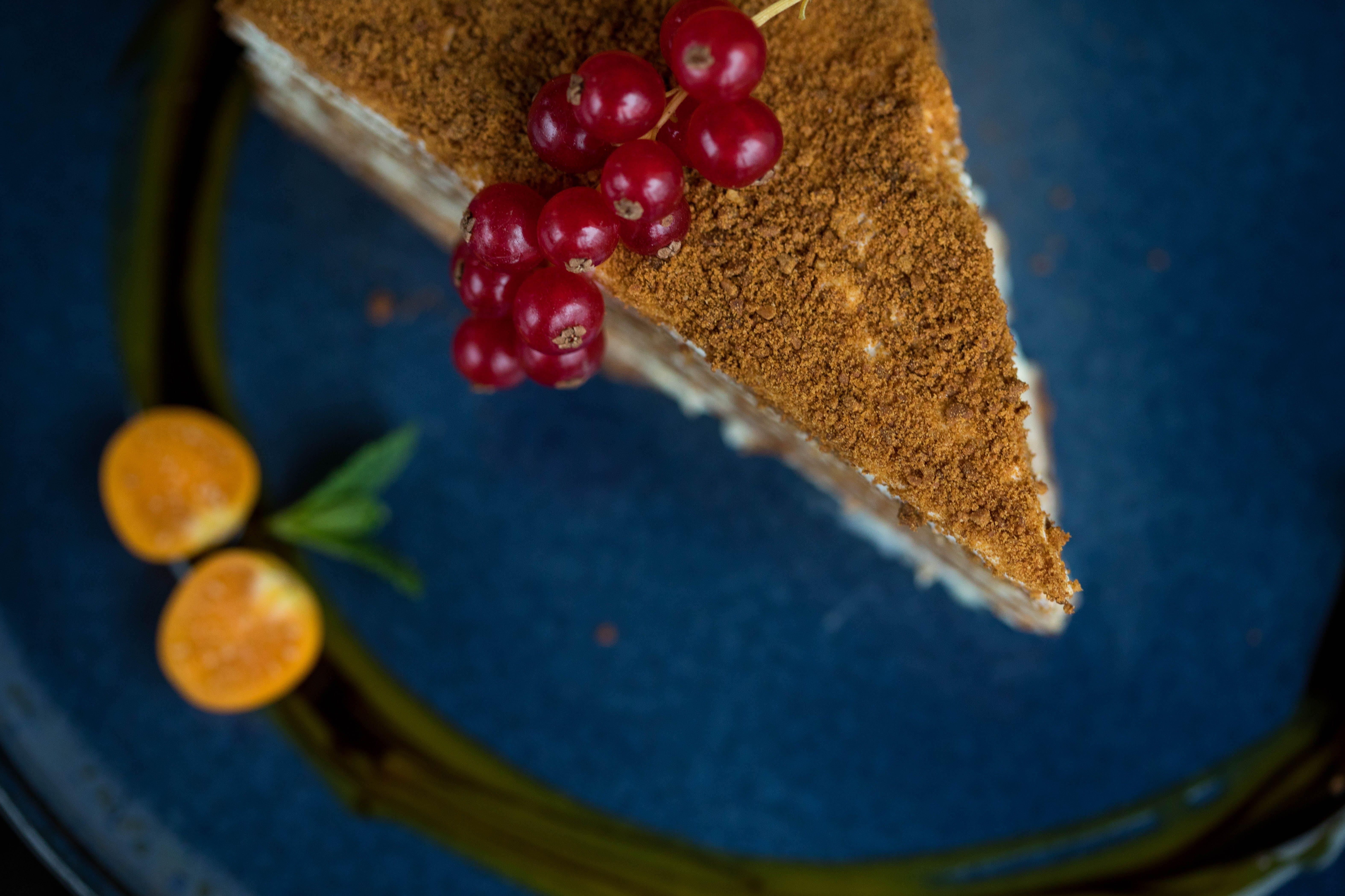 Sliced Cake on Blue Plate