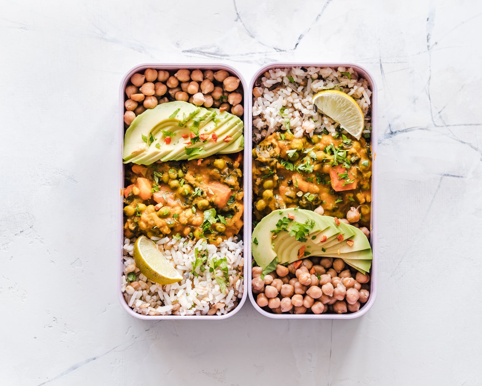 flat lay photography of two tray of foods