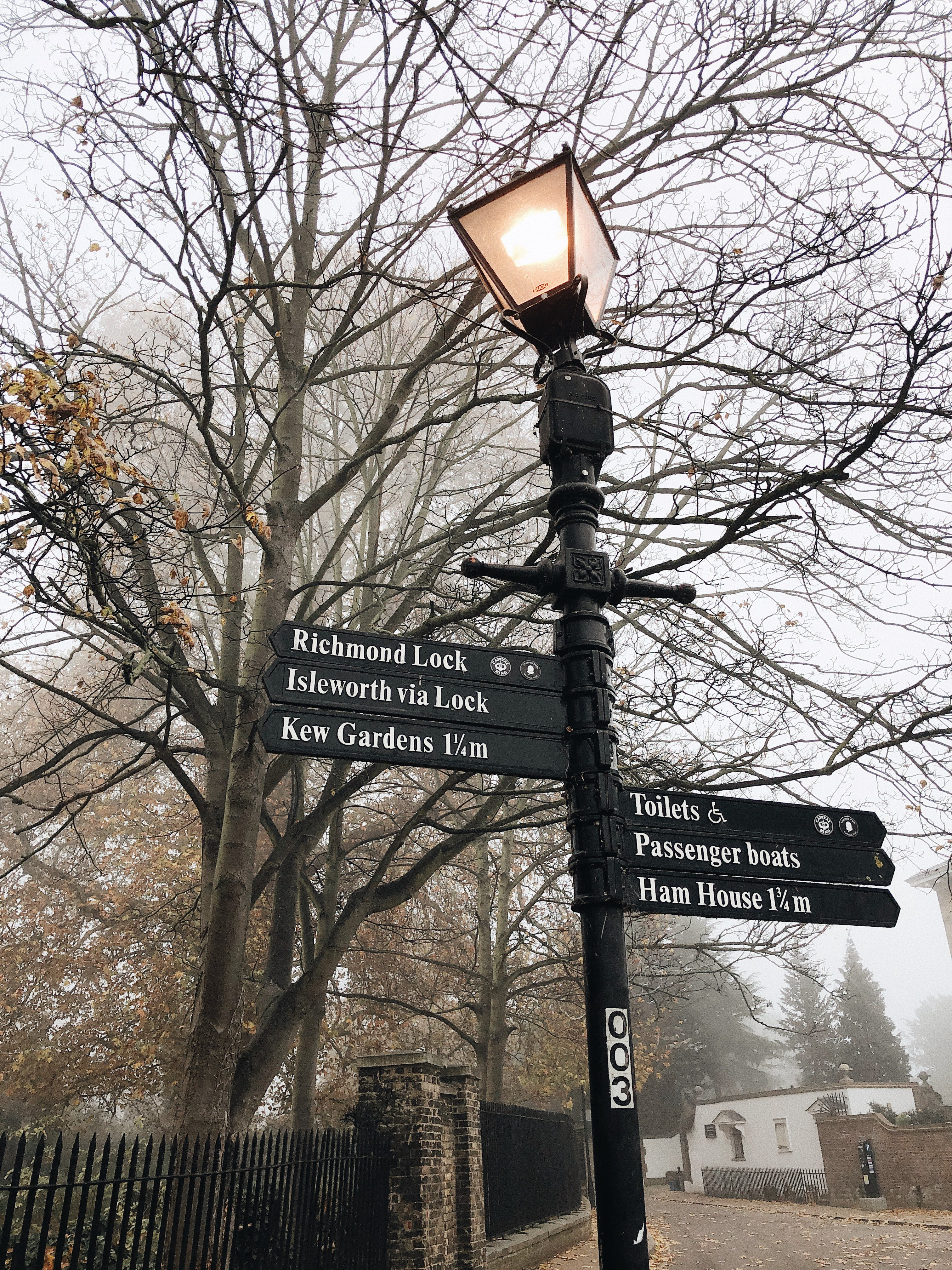Lighted Black Cast Iron Post Lamp With Direction Signs