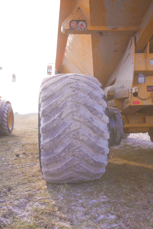 Free stock photo of construction, yellow, big wheel, work