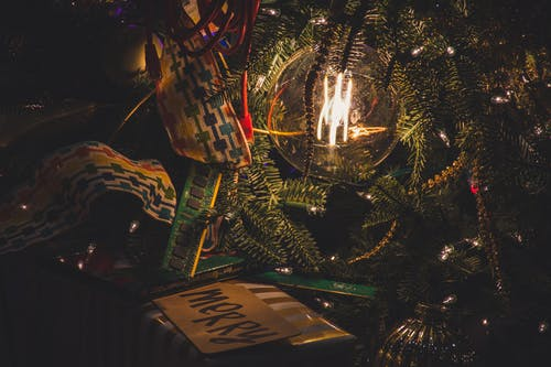 Turned-on Light In Christmas Tree