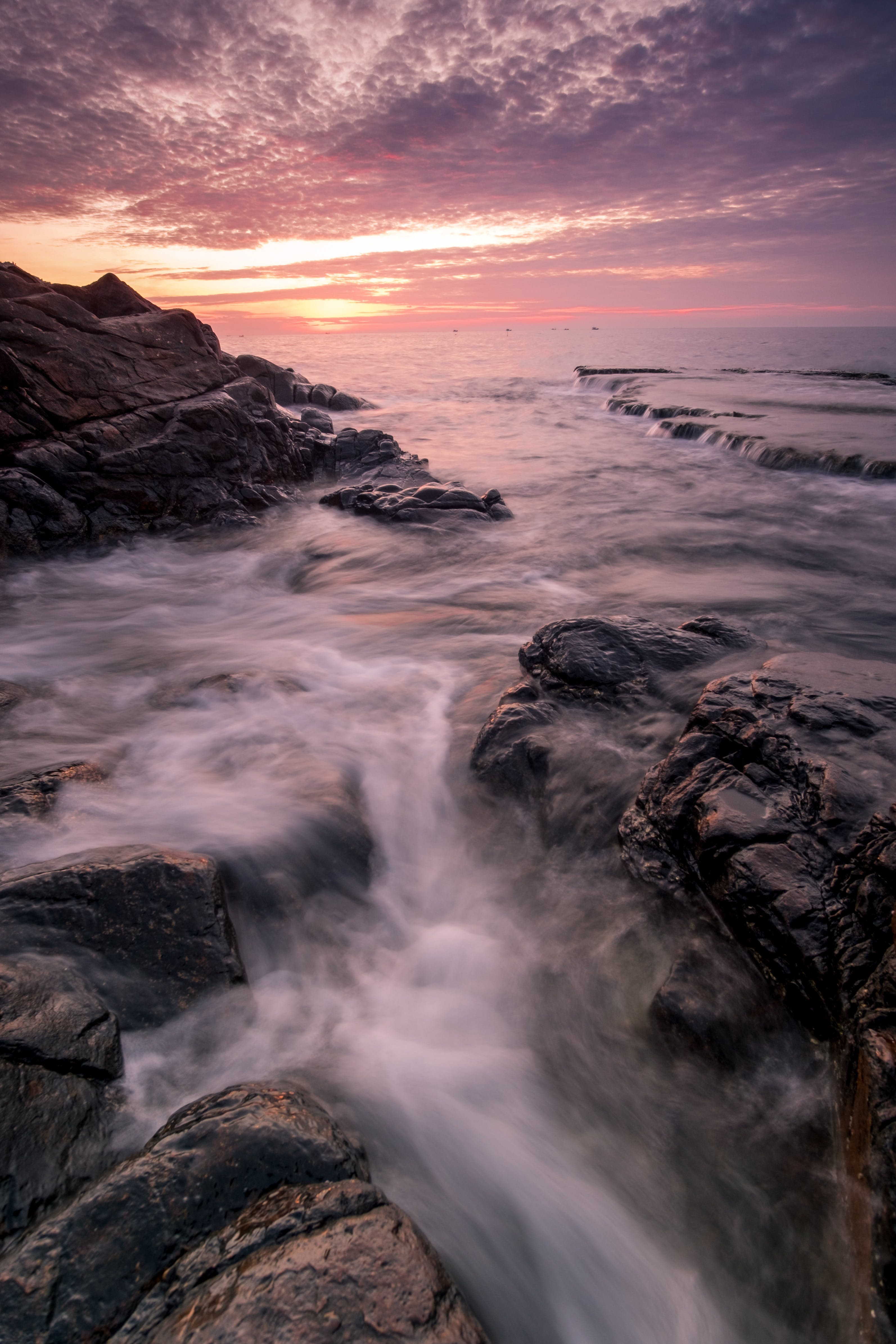 Running Water With Rock Formation during Golden Hour
