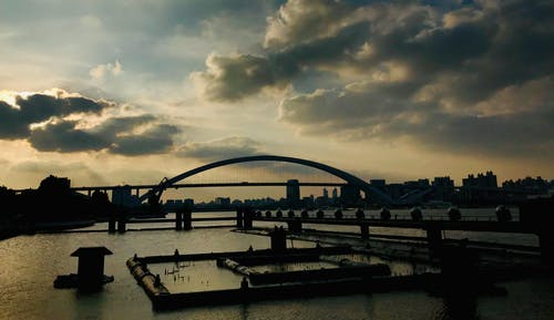Free stock photo of Dark Sky, expo part, huangpu river, lupu bridge