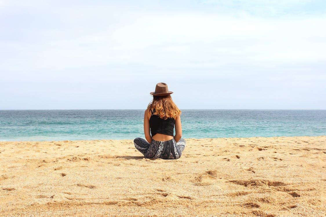 kobieta, morze, niebo