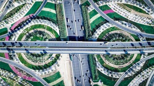 Aerial Photography of Vehicles in Road