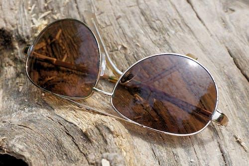 Kostenloses Stock Foto zu gefällter baumstamm, holzoberfläche, nahansicht, pilotenbrille
