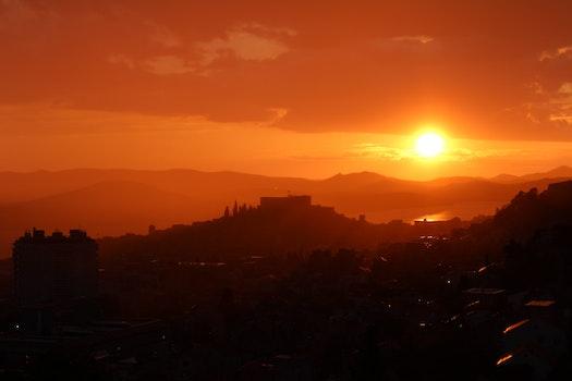 Sunset on Mountain Range