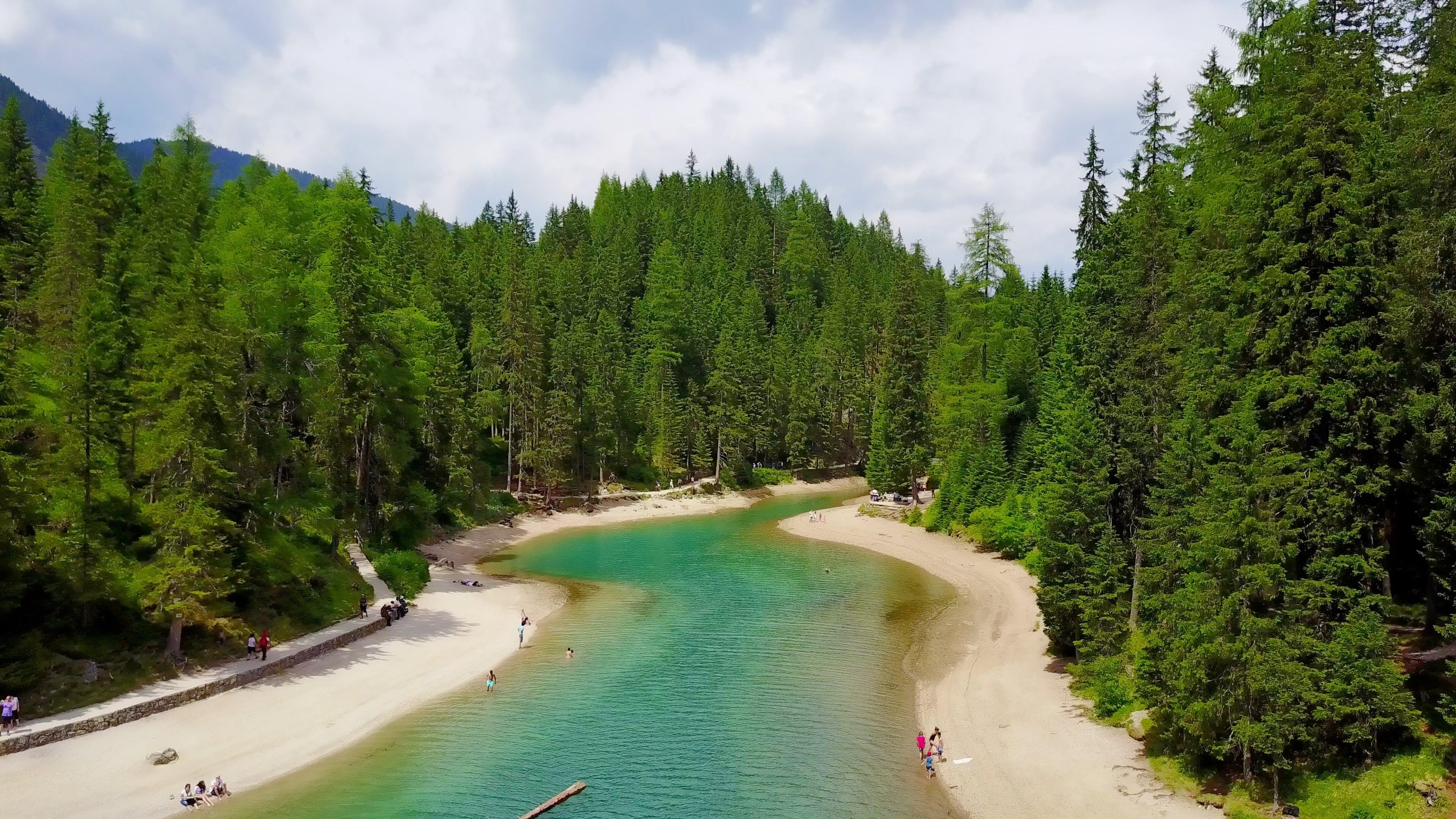 braies, mountain lake, trees