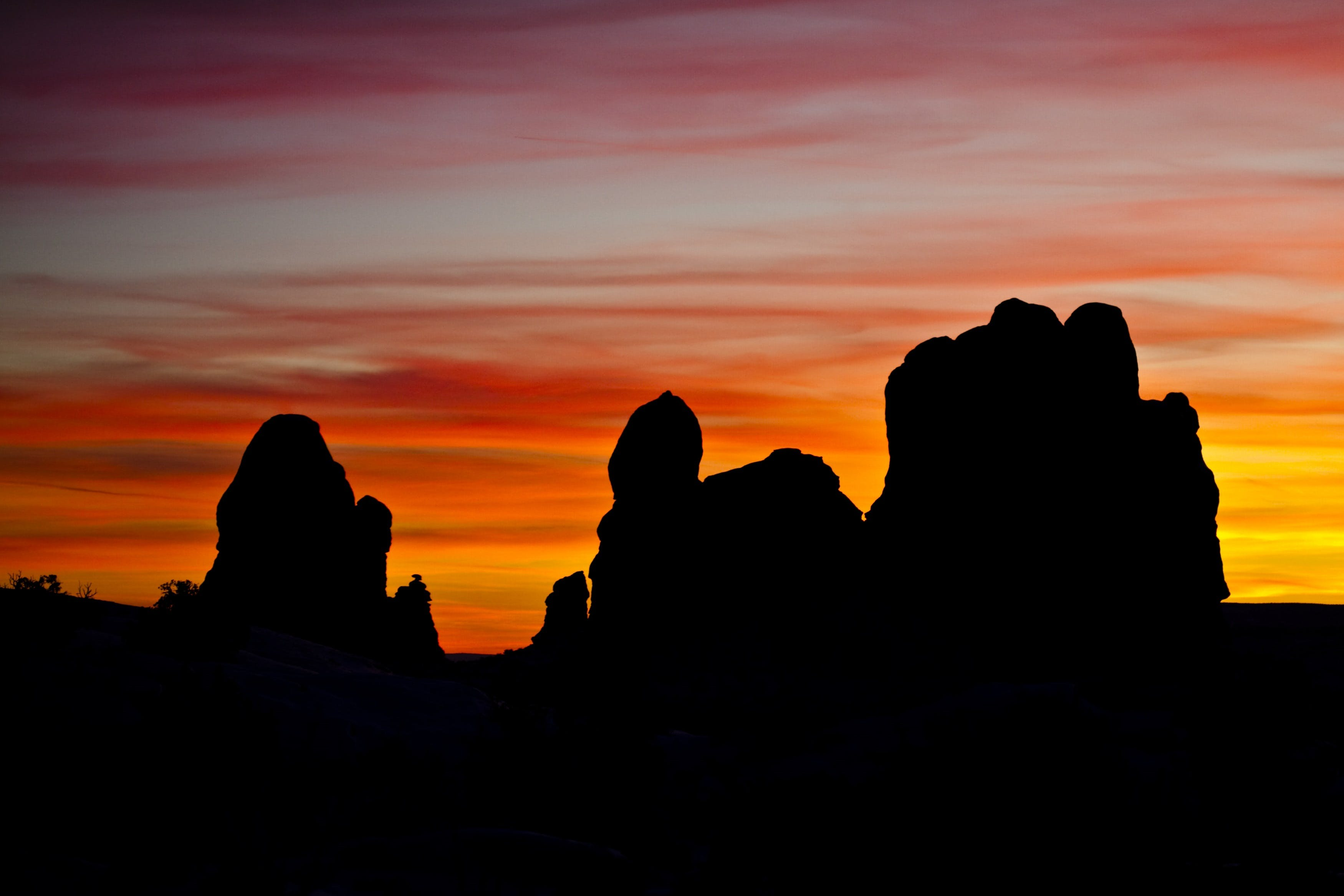 Silhouettes of Rock Formation during Sunset