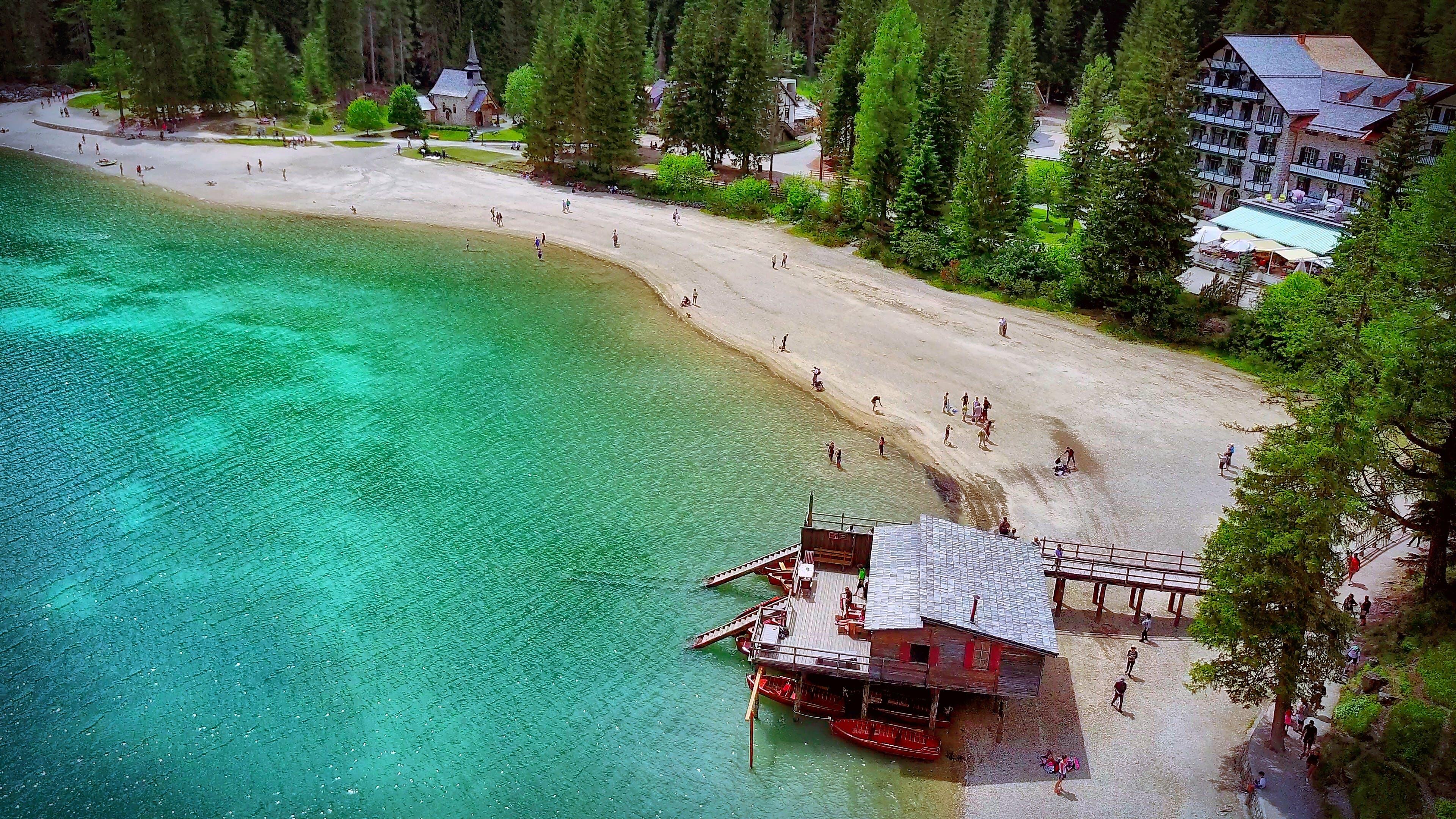 Free stock photo of beach, chalet, church, mountain lake