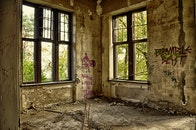dirty, building, windows