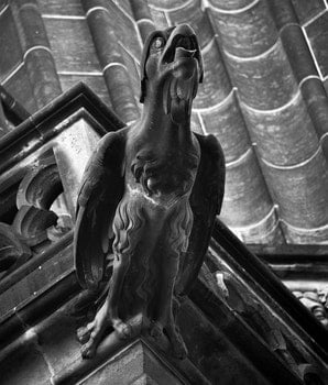 Grayscale Representation of a Bird Statue