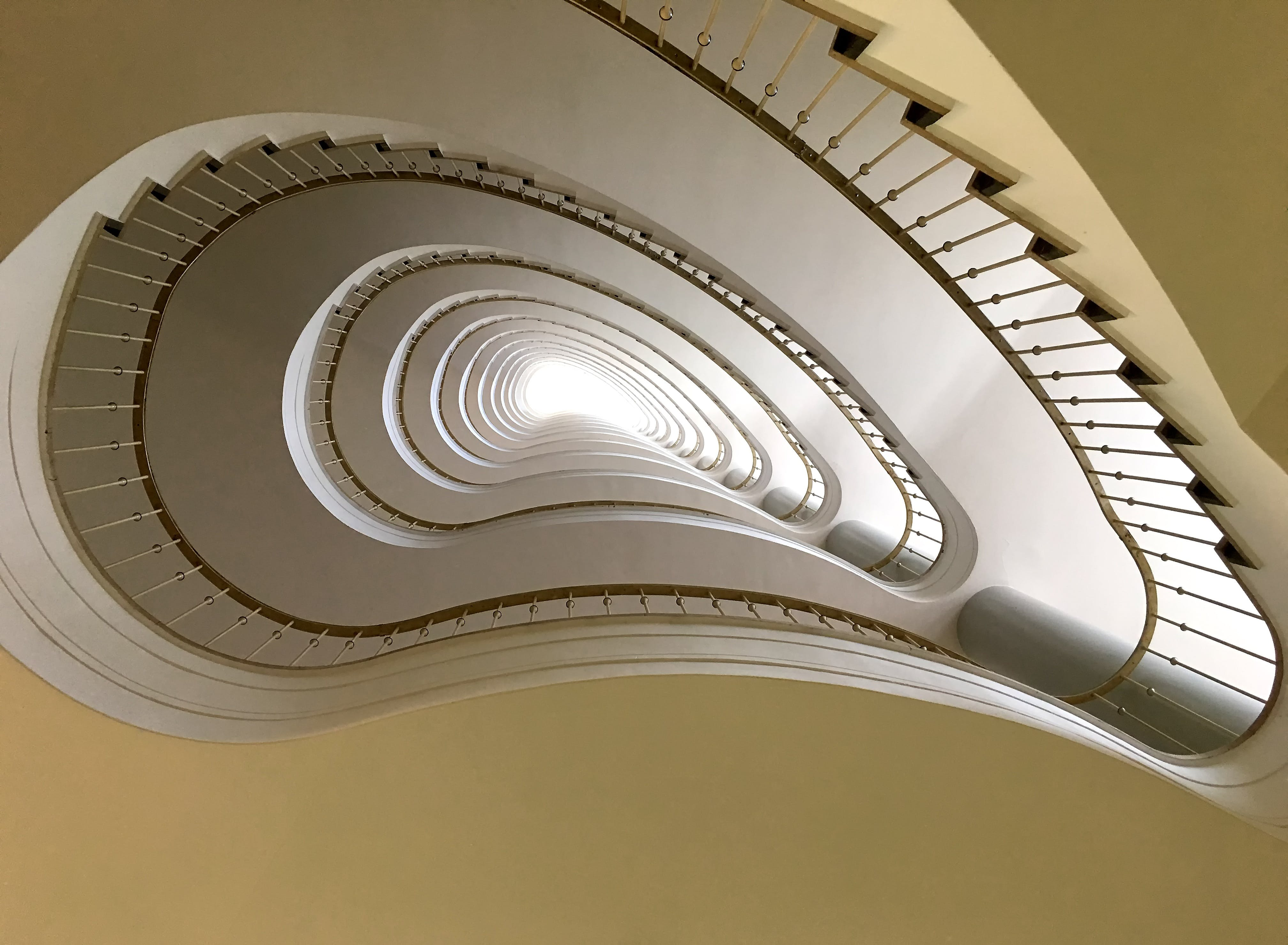 Beige and Brown Spiral Stair