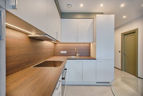 White Wooden Modular Kitchen