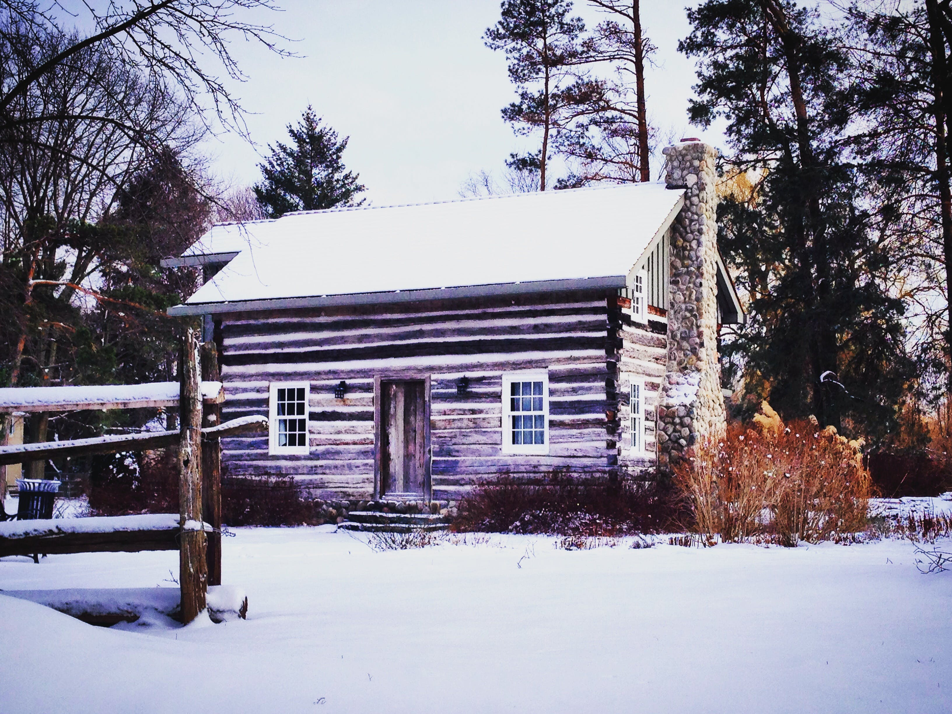 Brown Shack Covered With Snow