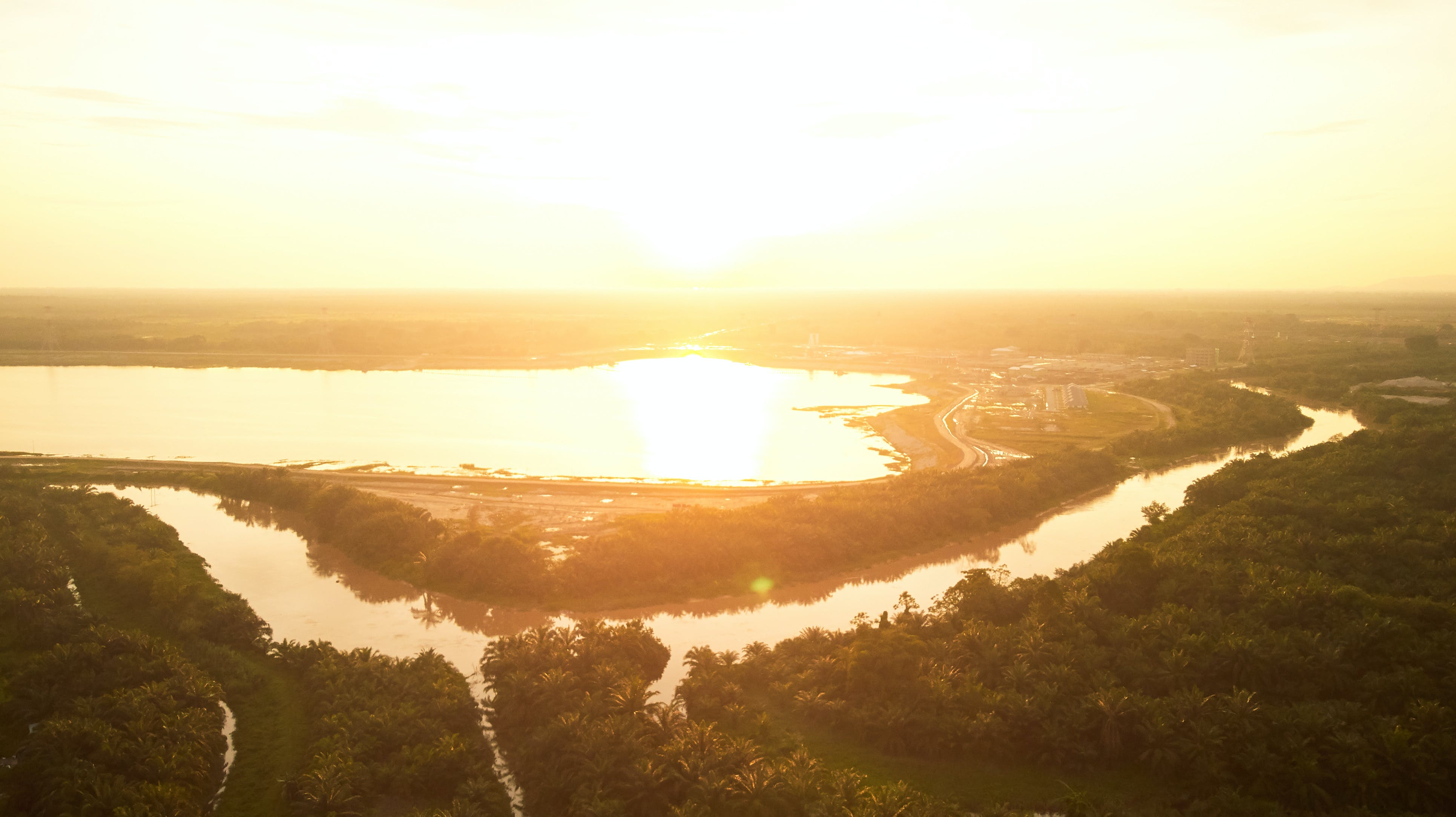 Free stock photo of aerial, golden sunset, lake, river