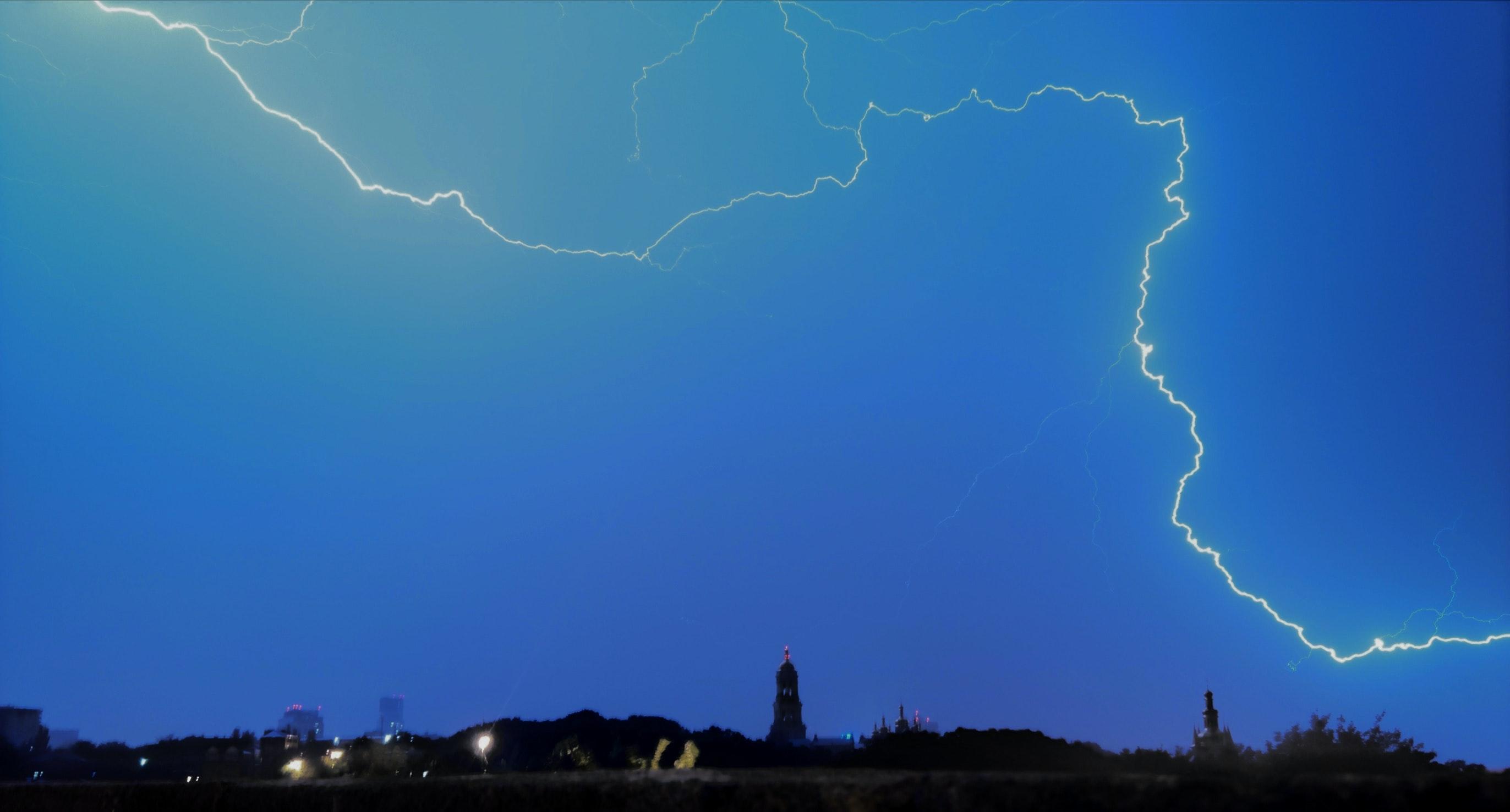 Free stock photo of evening sky, lightning, lightning strike