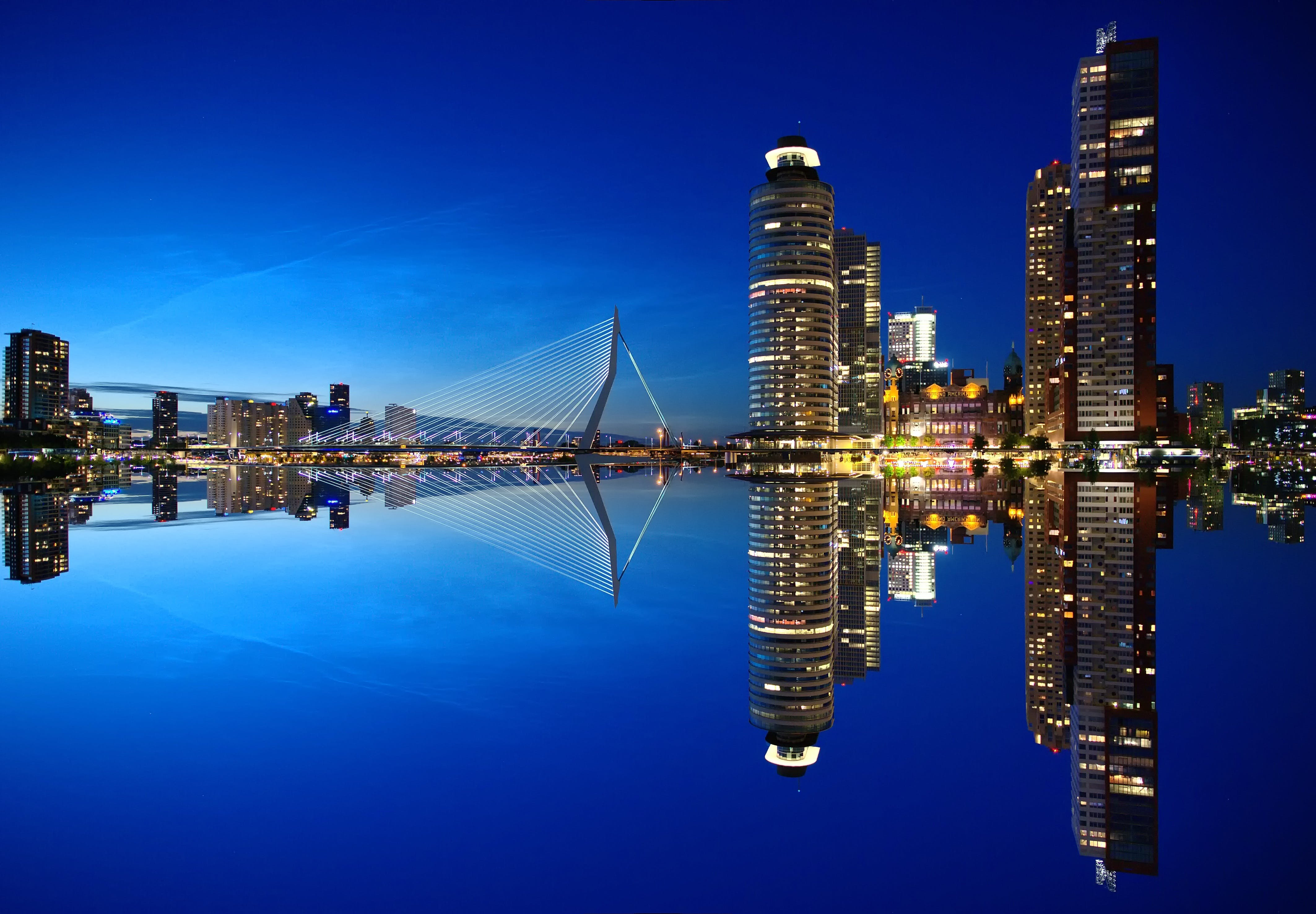Mirrored Image of High Rise Buildings and Bridge