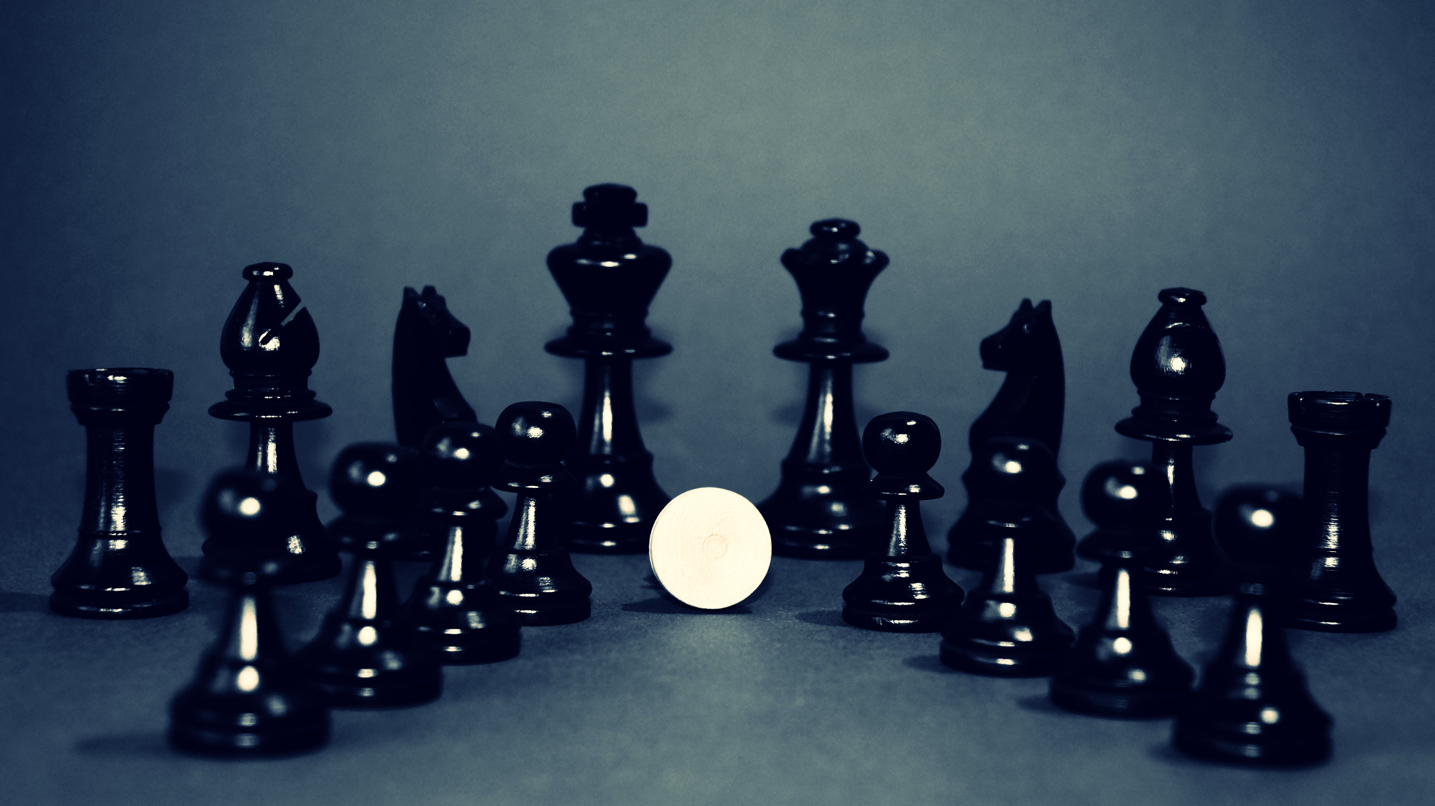 black and white, chess, chess pieces