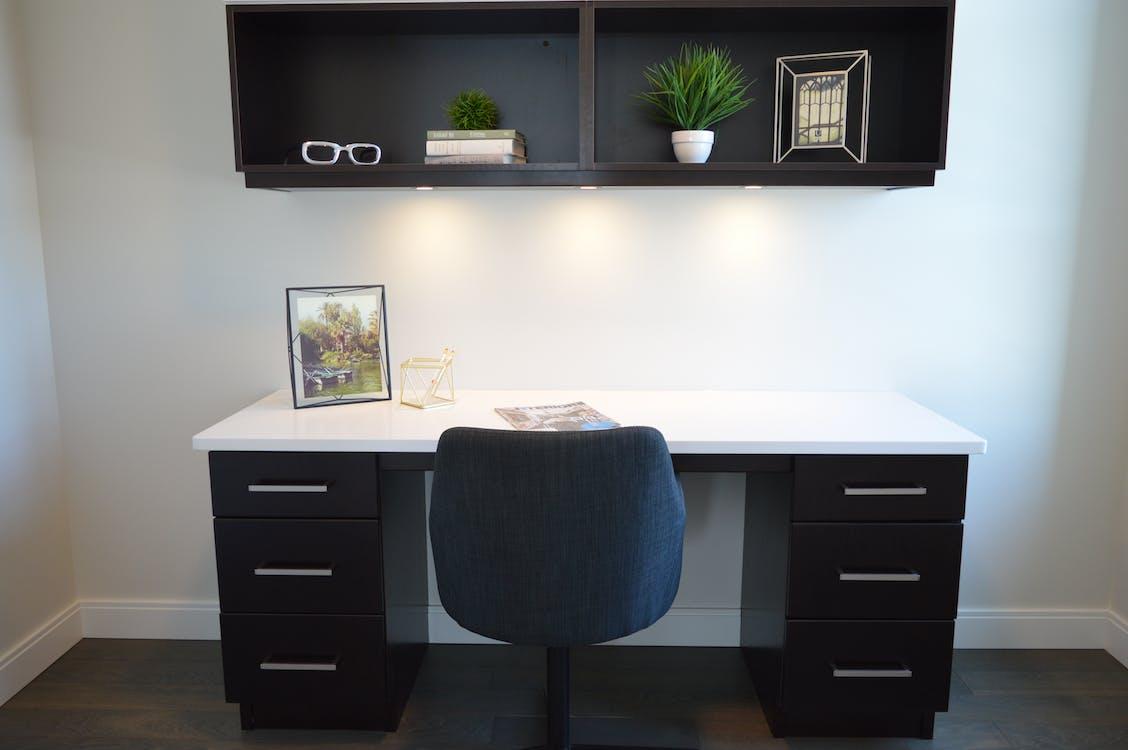 White and Black Wooden Pedestal Desk