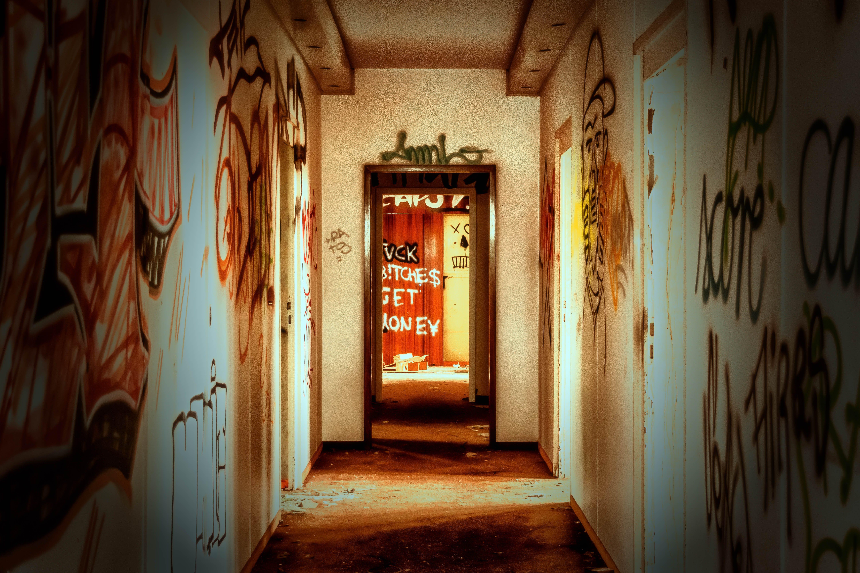 アート, 壁, 廃墟, 廊下の無料の写真素材