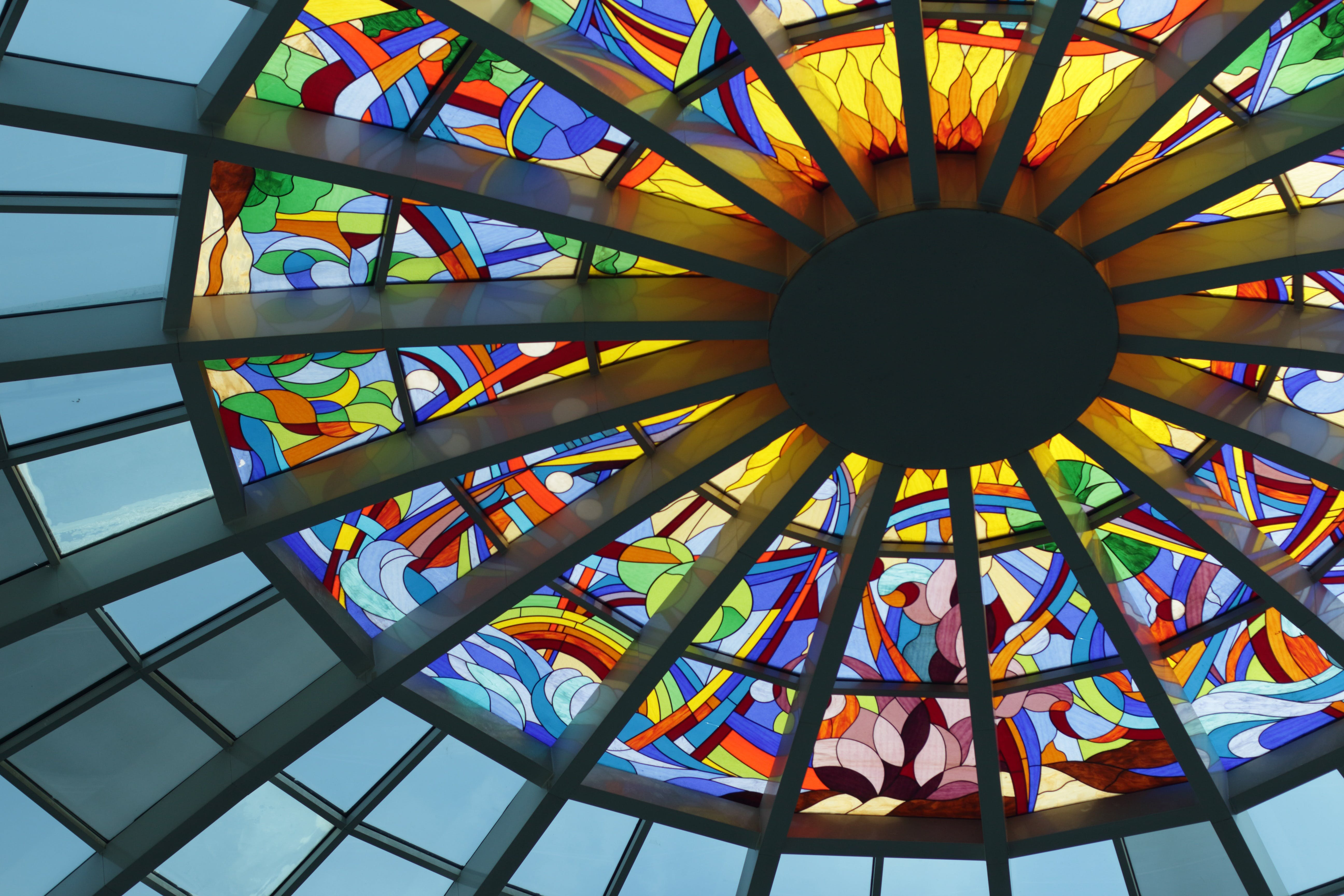 Stained Glass Ceiling during Daytime